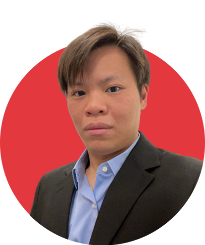 Brian Chan Headshot with red background.