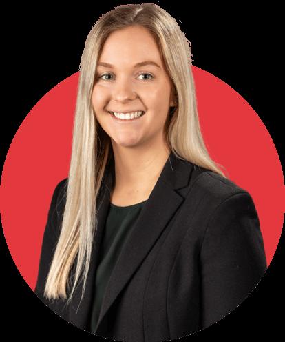 Caroline Schramm headshot with red background