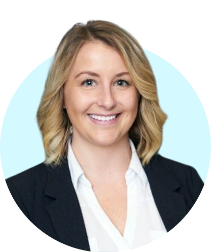 Aubrey Kalchbrenner Headshot with Blue Background