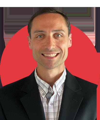 Jeff Benka Headshot with Red Background