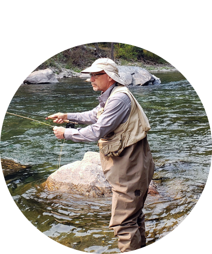 Randy Ward fun photo cast fly fishing pool in middle of stream.