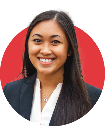 Casey Duong headshot with red background.