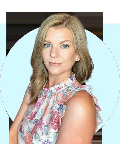 Megan Shaefer headshot with blue background.
