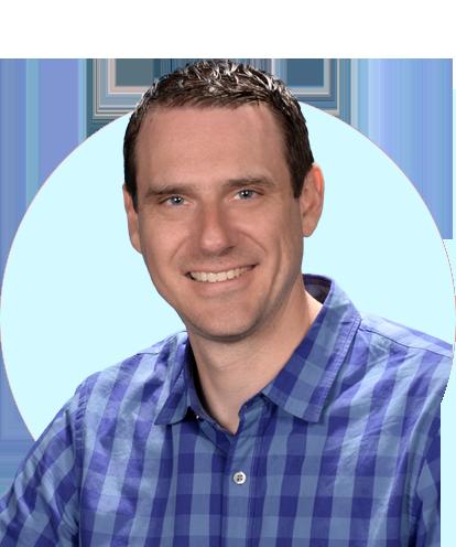 Ryan Tinus headshot with blue background.